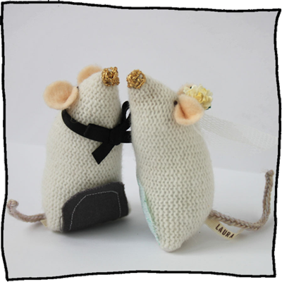 knitted mice wedding cake toppers wedding mice cake toppers knitting 16653